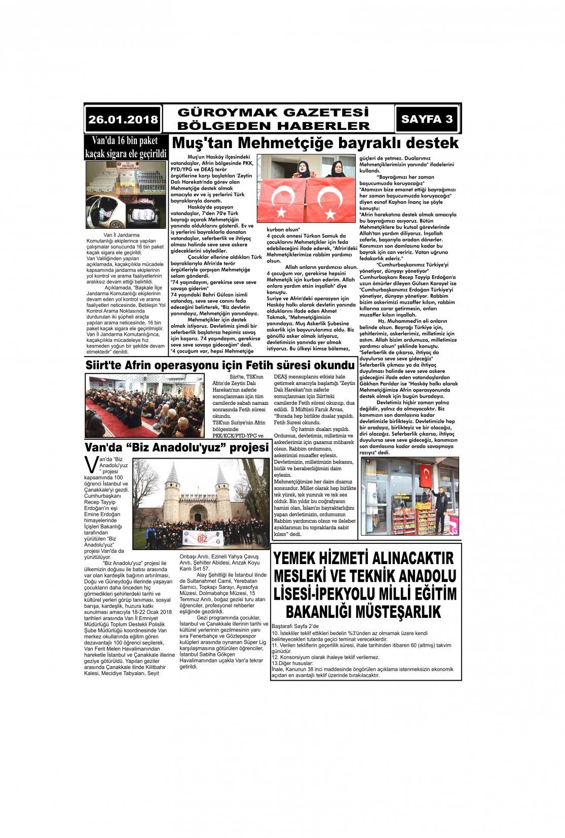 Güroymak Gazetesi 3.jpg Sayılı Gazete Küpürü