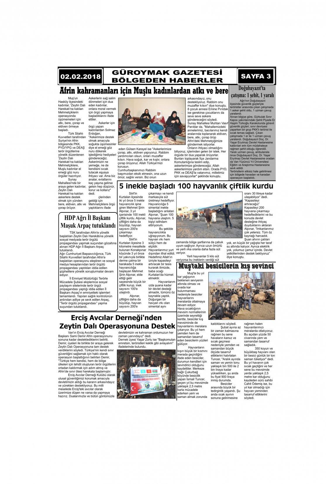 Güroymak Gazetesi 3-1.jpg Sayılı Gazete Küpürü