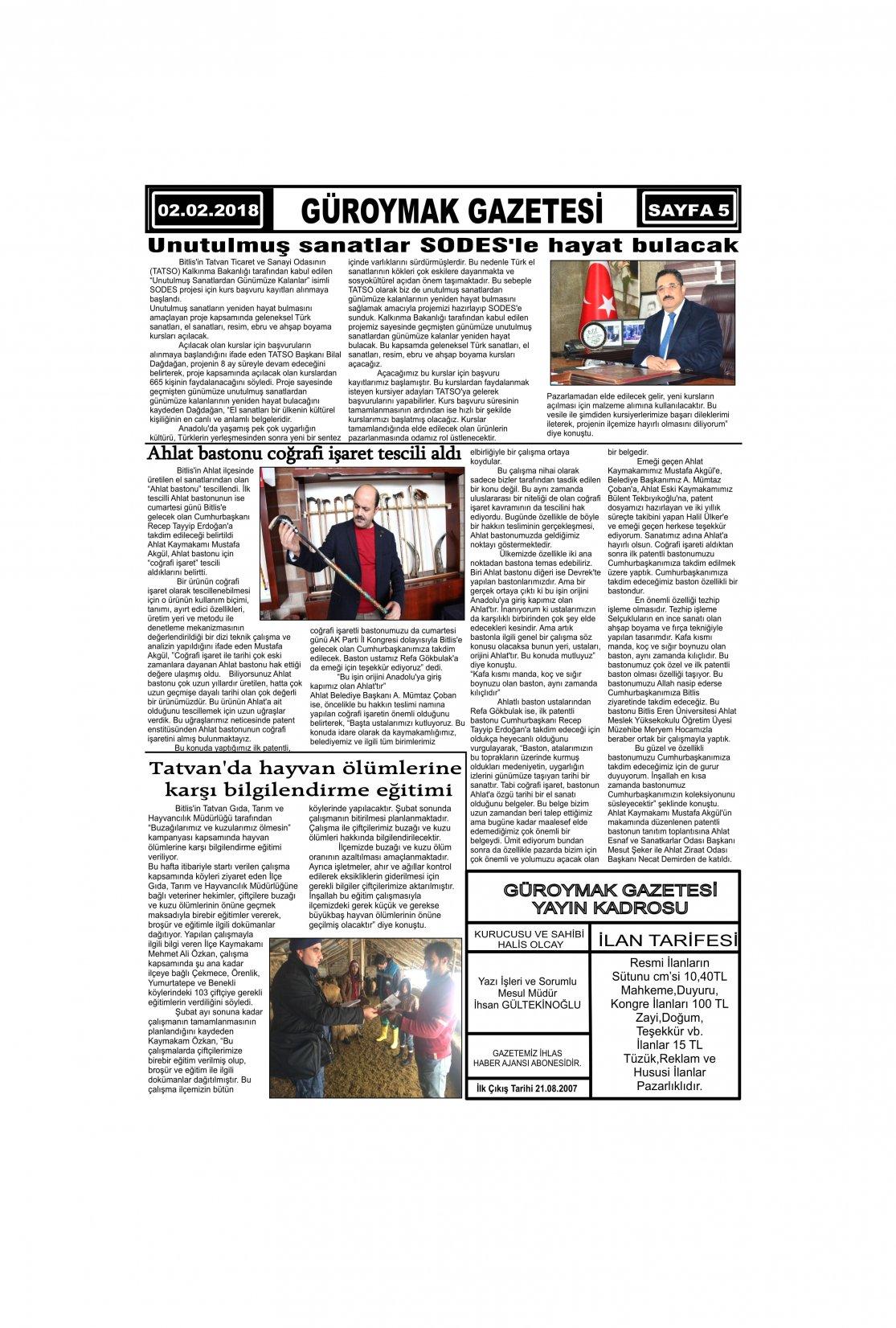Güroymak Gazetesi 5-1.jpg Sayılı Gazete Küpürü