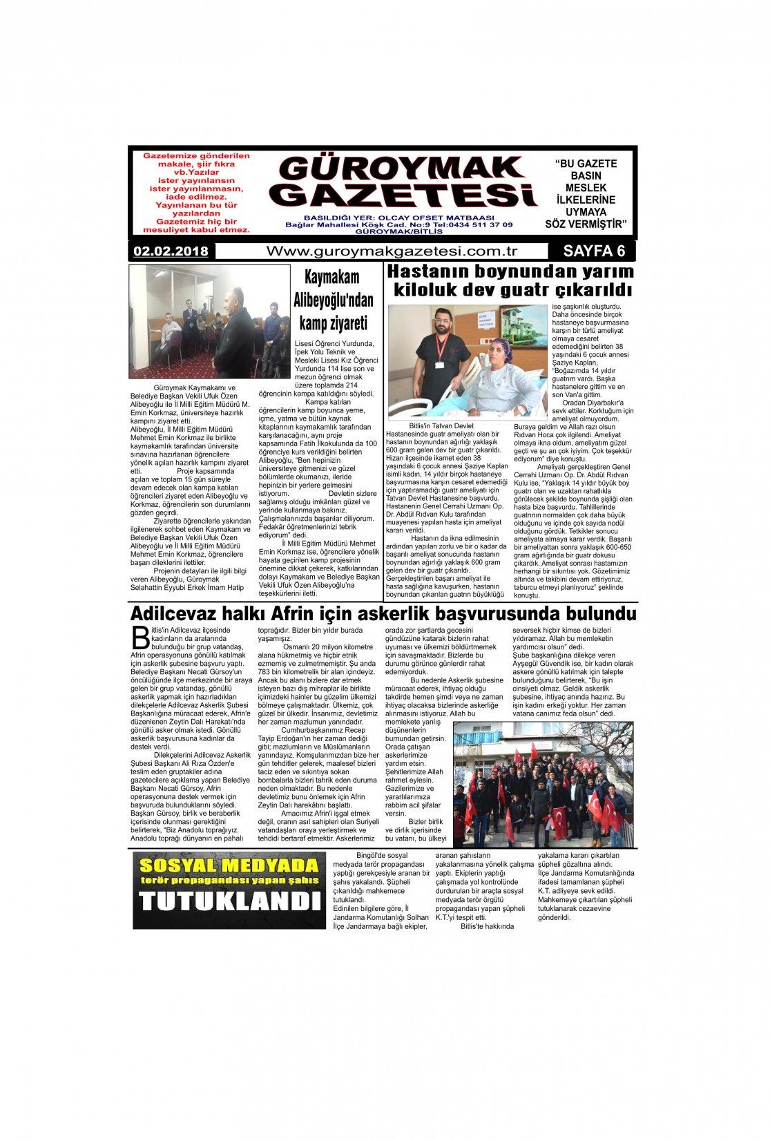 Güroymak Gazetesi 6-1.jpg Sayılı Gazete Küpürü