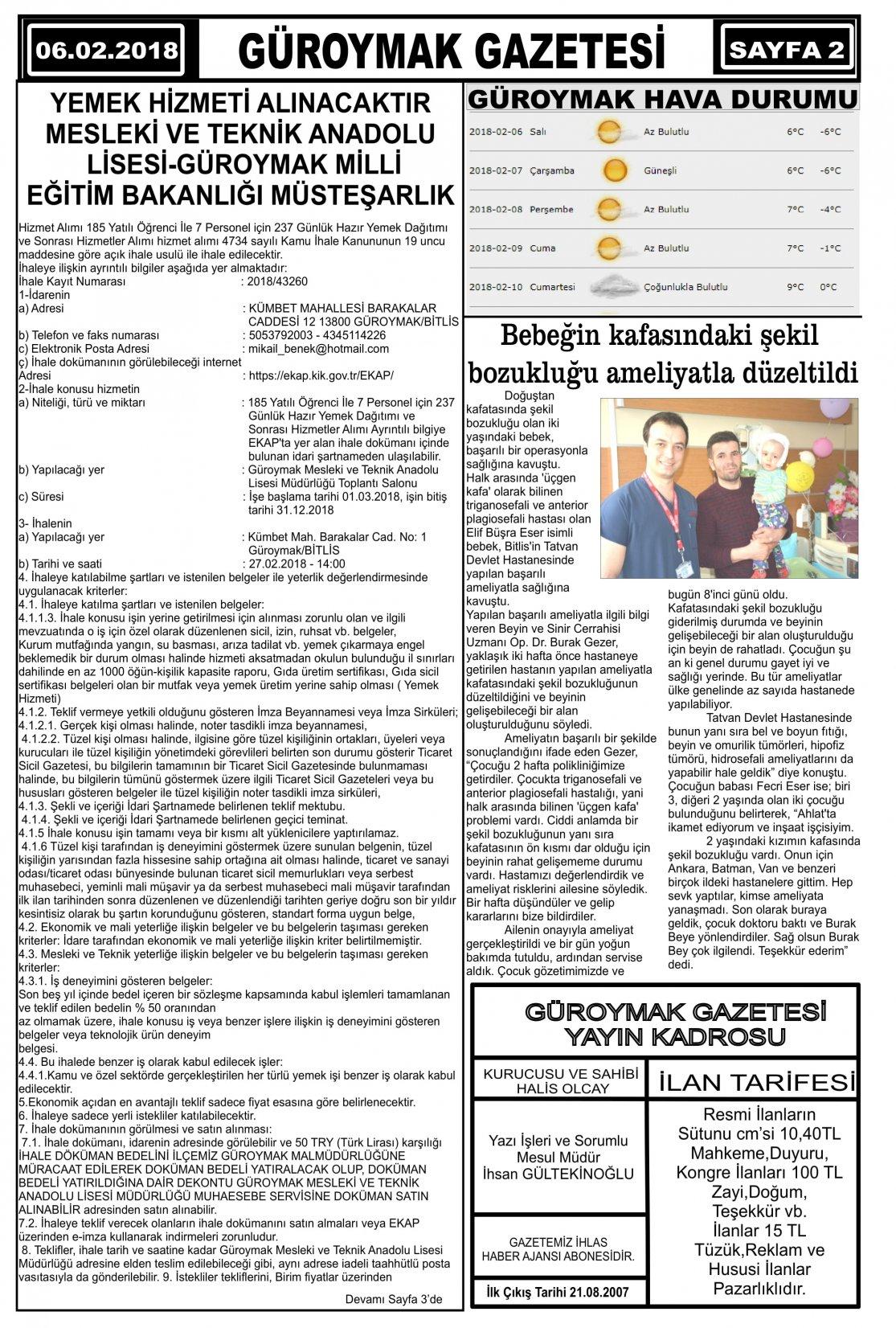 Güroymak Gazetesi 2.jpg Sayılı Gazete Küpürü