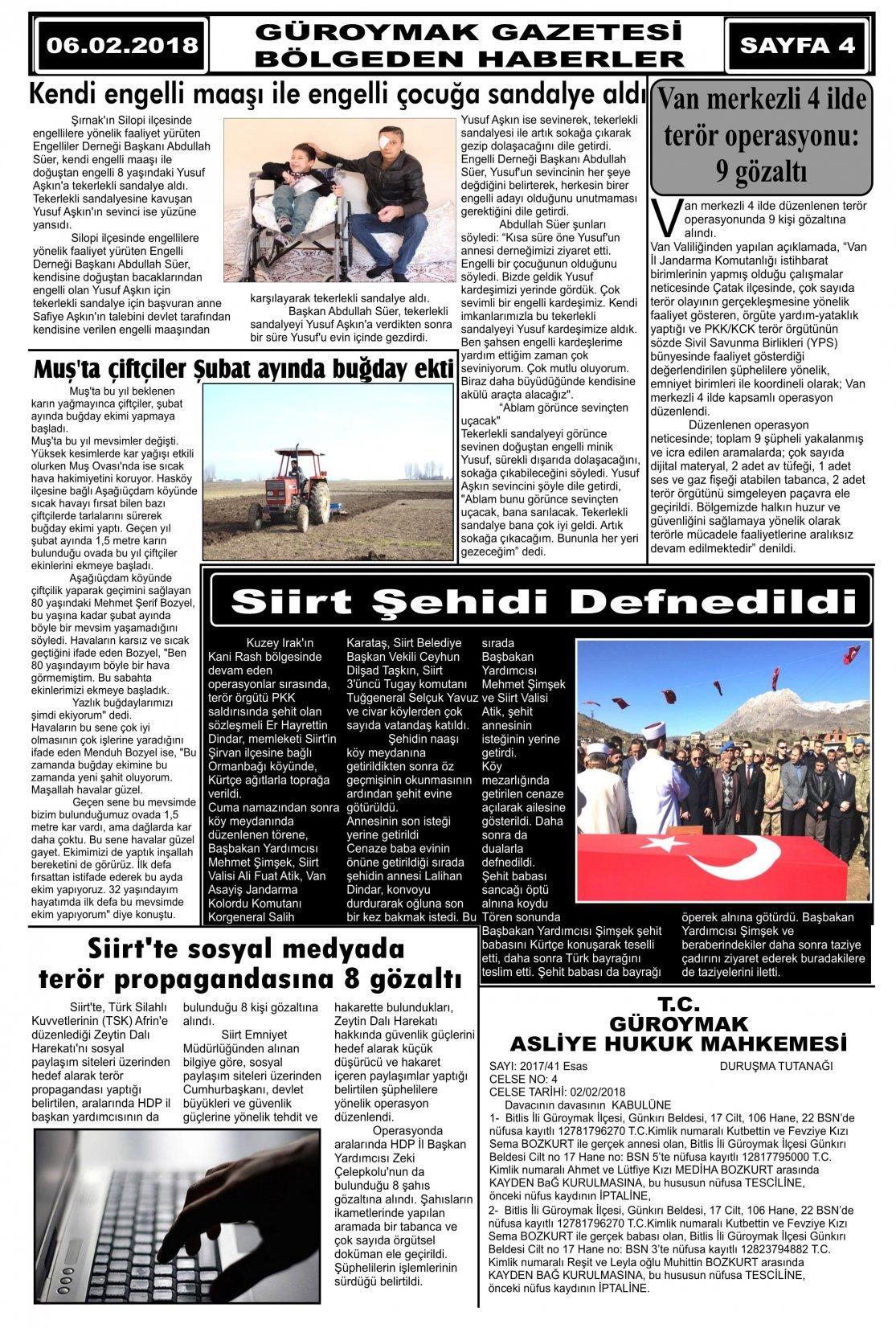 Güroymak Gazetesi 4.jpg Sayılı Gazete Küpürü