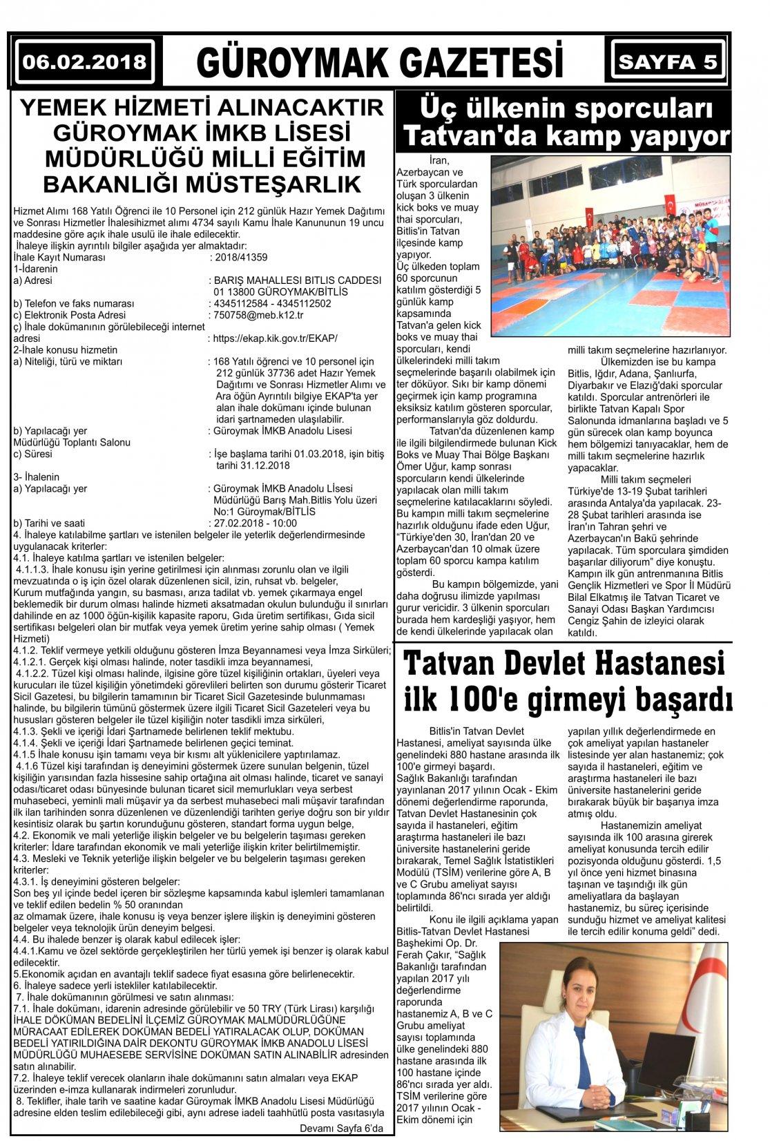 Güroymak Gazetesi 5.jpg Sayılı Gazete Küpürü
