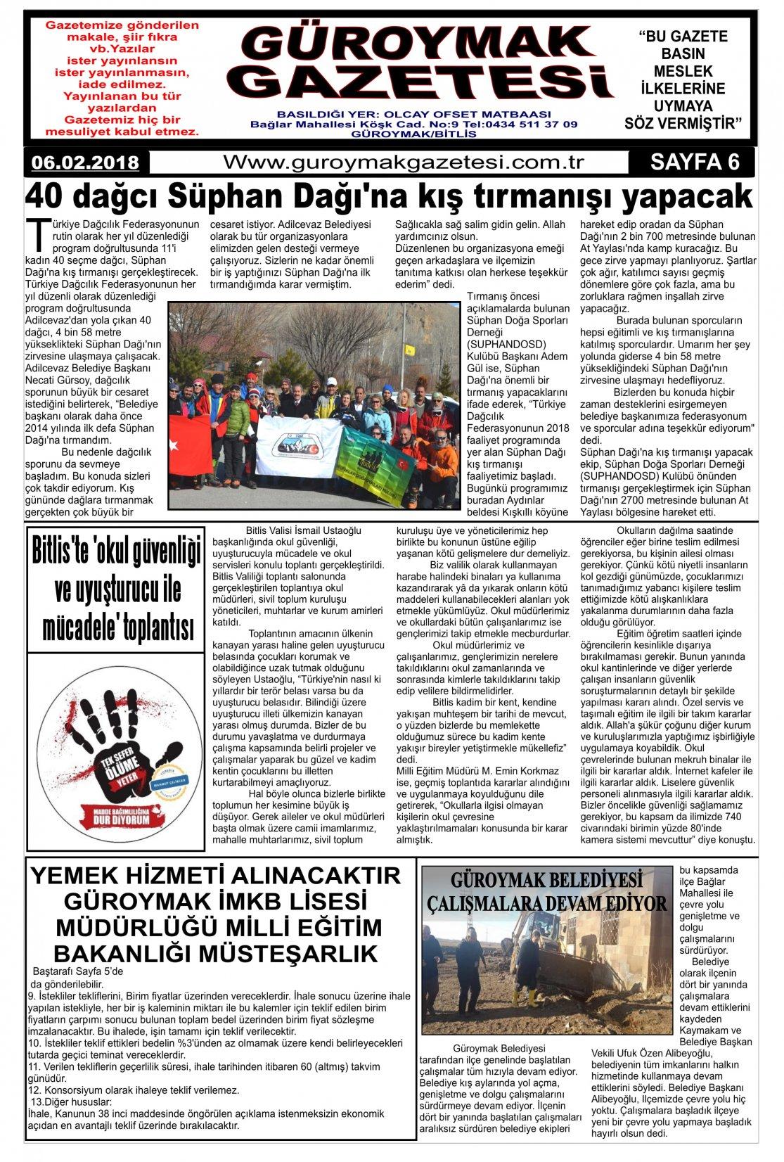 Güroymak Gazetesi 6.jpg Sayılı Gazete Küpürü