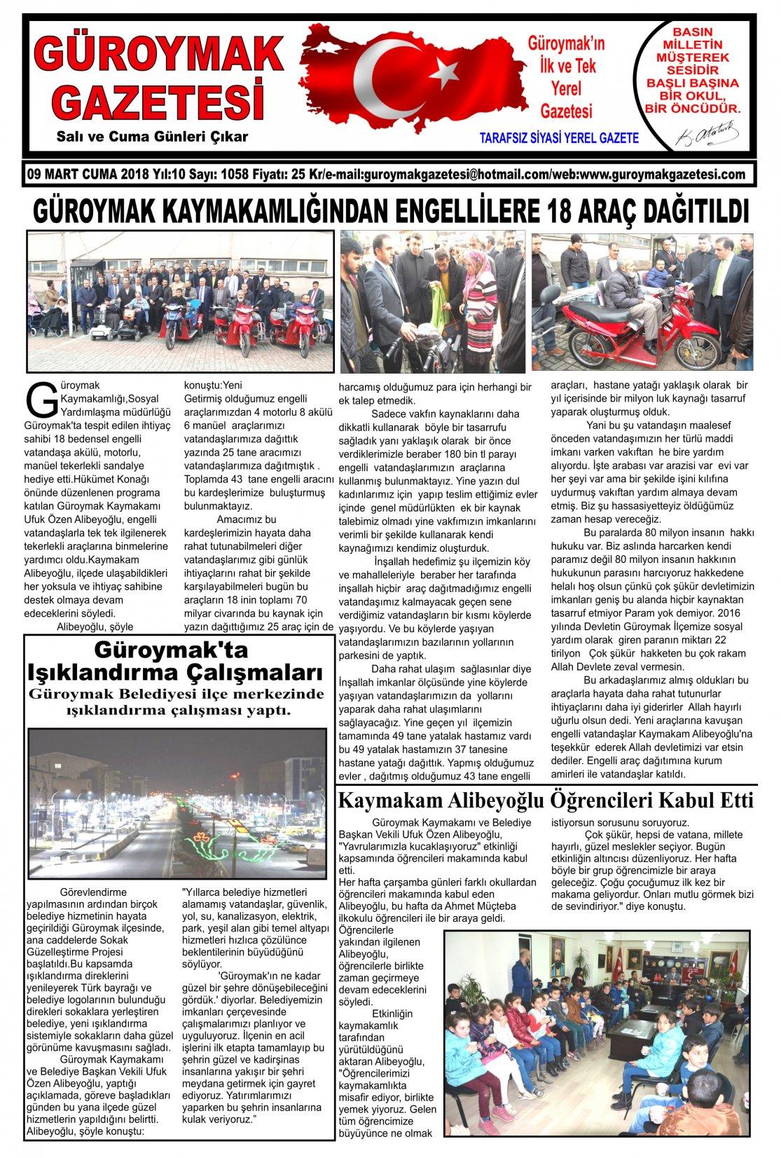 Güroymak Gazetesi 1.jpg Sayılı Gazete Küpürü