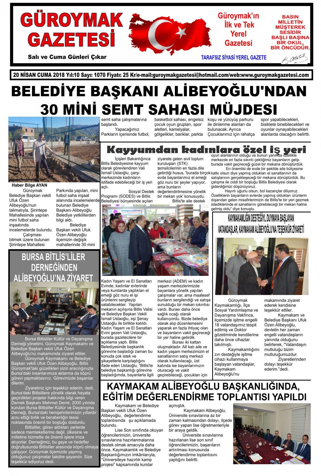 Güroymak Gazetesi 1-01.jpg Sayılı Gazete Küpürü