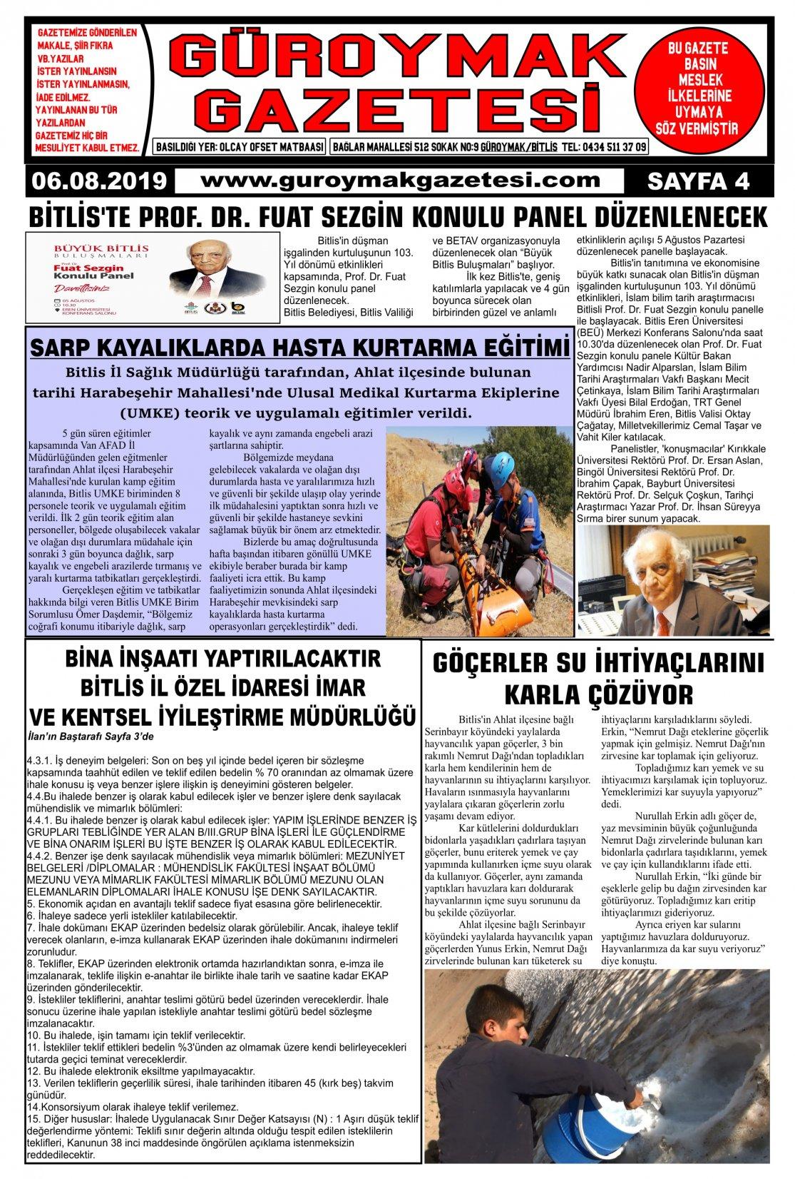Güroymak Gazetesi 4-1.jpg Sayılı Gazete Küpürü