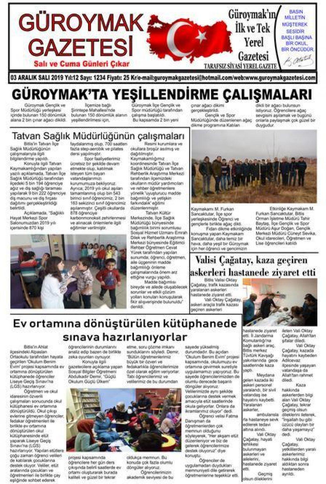 Güroymak Gazetesi 1sayfa.jpg Sayılı Gazete Küpürü