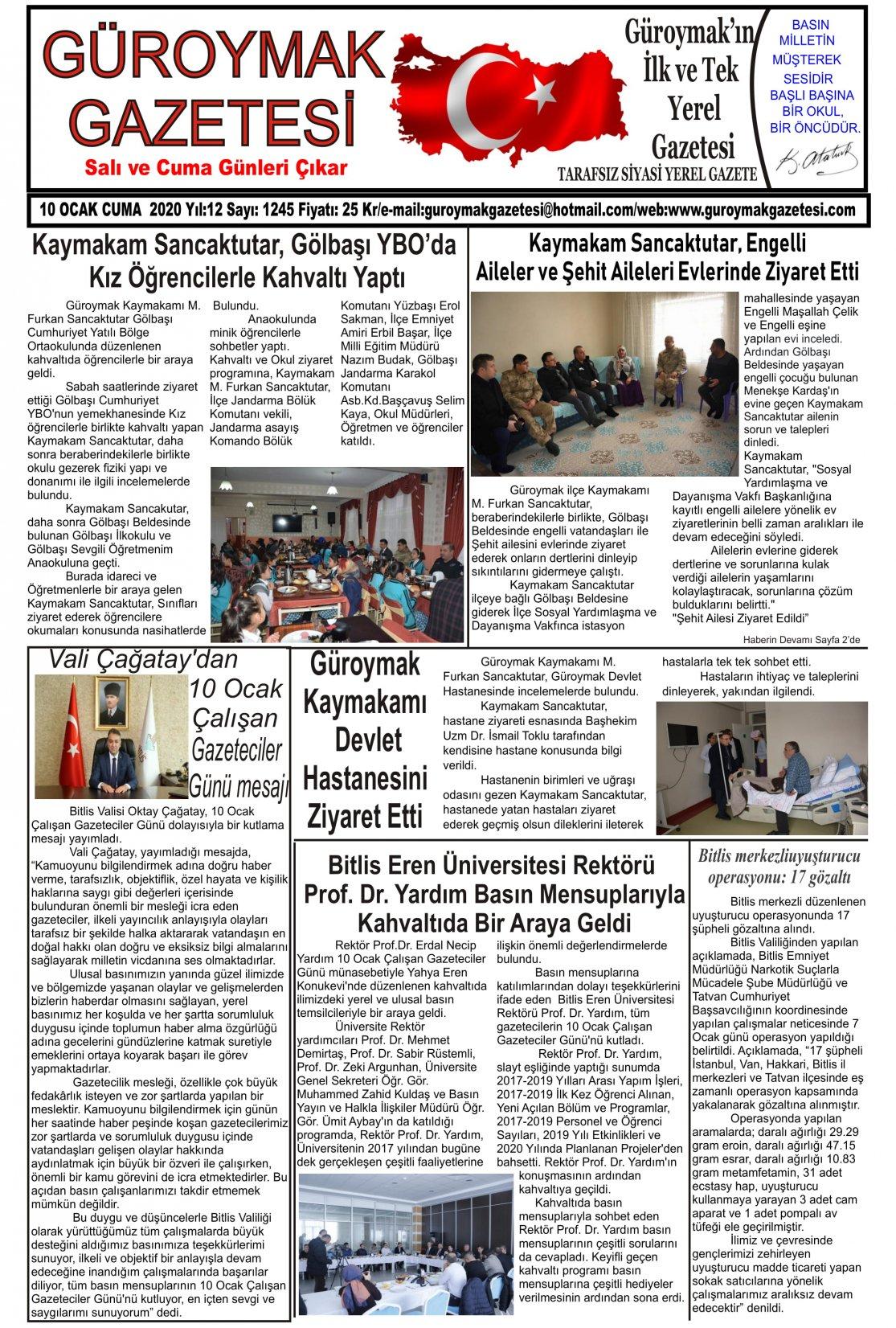 Güroymak Gazetesi 1-1.jpg Sayılı Gazete Küpürü