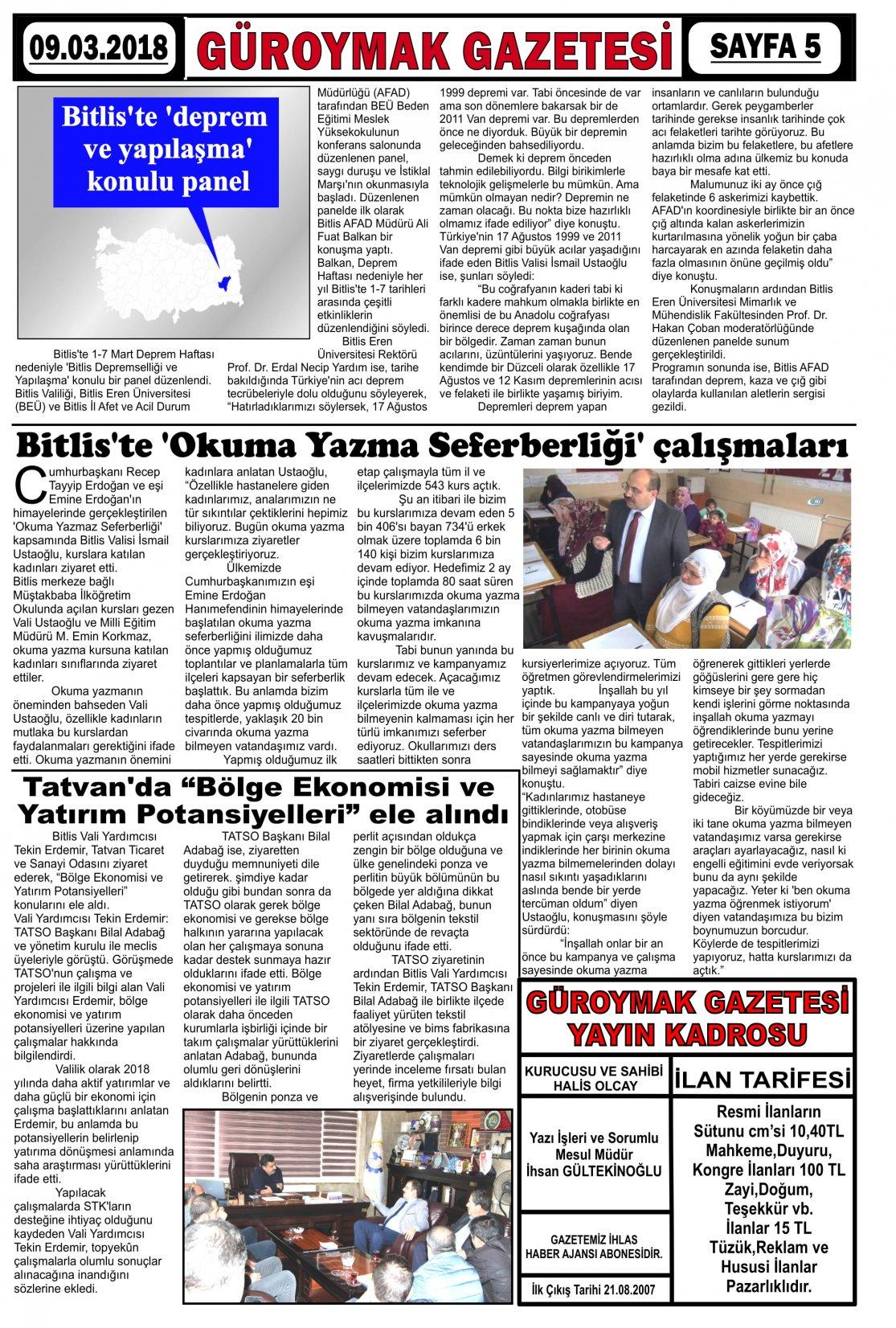 Güroymak Gazetesi  Sayılı Gazete Küpürü