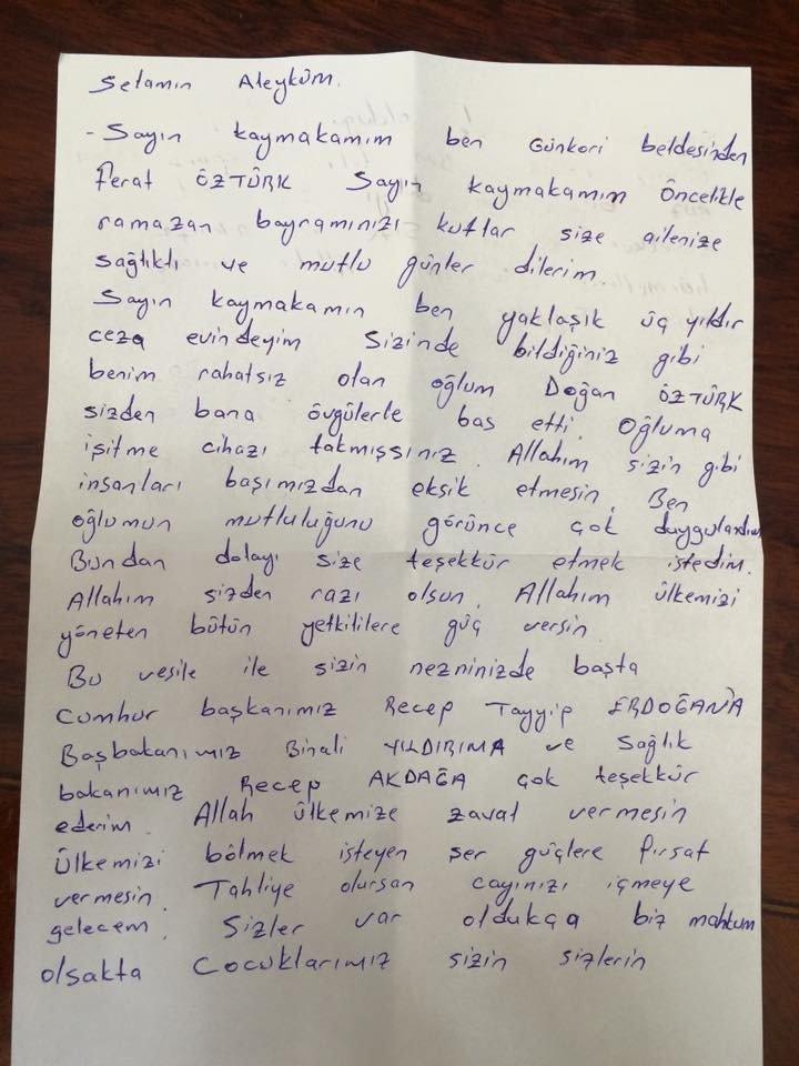 Cezaevindeki babadan kaymakama mektup